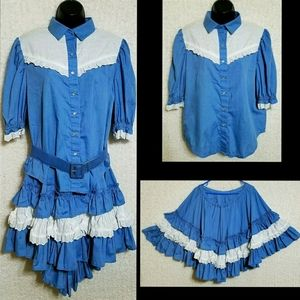 Other - VTG Ruffle Lace Pearl Snap 3 Pc Square Dance Set